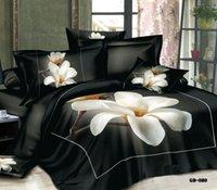 conjunto de cama rosa negra venda por atacado-Boa Quailty 100% algodão meninas florais 3D Black Rose Set cama capa de edredão set super-rei da rainha conjunto de folha de cama