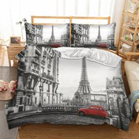 Wholesale cartoon eiffel tower paris resale online - Paris The Eiffel Tower Printed Bedding Set Queen Size Comforter Bed King Duvet Cover Set High Quality