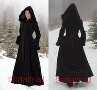 roupões com capuz preto venda por atacado-New Fur Hallowmas com capuz Cloaks Inverno Capes casamento Wicca Robe revestimento morno Coats noiva preto Natal Eventos Acessórios