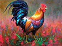 красные садовые цветы оптовых-DIY акриловая живопись по номерам комплект на холсте для взрослых начинающих петух прогуливаясь в саду фермы красные цветы 16x20 дюймов
