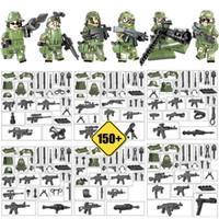 blocos de construção militares de brinquedo venda por atacado-Tropa armada CF Mini Toy Figura Selva Commandos Camuflagem Do Exército Building Block Tijolo Brinquedo Militar