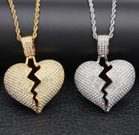 diamante ouro coração venda por atacado-Coração partido Iced out Pingente de Colar Bling Bling strass Cristal do amor do Amor de prata de Ouro Torcido cadeia Para mulheres Hip hop Jóias