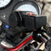 usb da tomada da motocicleta 12v venda por atacado-Universal Motocicleta MOTO 12 V USB Isqueiro Power on / off Integração Portuária Tomada Dupla usb tomada de carga de energia Frete Grátis