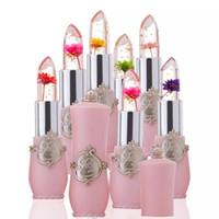 flower jelly lipstick venda por atacado-2018 novo Transparents Flor batom À Prova D 'Água Temperatura Mudança de Cor Geléia Lipbalm Long Lasting Hidratante Rosa Pintalabios