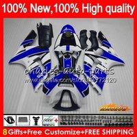 ninja zx6r body kit großhandel-Körper für KAWASAKI 600cc ZX600 ZX636 blau weißes Top ZX6R 03 04 36HC.13 ZX 636 R 6 ZX 6R 03 04 ZX636 ZX600 ZX6R 2003 2004 Voll Verkleidungs-Kit