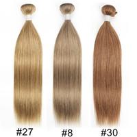 Wholesale auburn hair weave resale online - Kisshair Color8 Ash Brown Color27 Honey Blonde Color30 Medium Auburn Straight Body Wave Human Hair Weave Brazilian Virgin Hair Extension