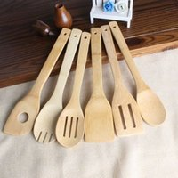 Wholesale spoon holders resale online - Bamboo spoon spatula Styles Portable Wooden Utensil Kitchen Cooking Turners Slotted Mixing Holder Shovels EEA1395