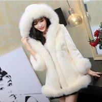 puff abrigo de piel al por mayor-Mujeres más el tamaño Casual Faux Fur Coat Ladies 2018 otoño invierno con capucha caliente Puff mangas Outwear