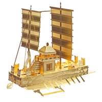 Wholesale toy boats for children online - D Metal Puzzle Toy DIY Ship Model Panokseon Dragon Boat Sailboat Building Kit Creactive Toys For Children Gift
