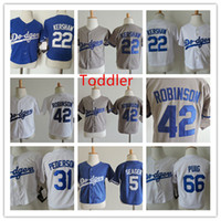 Wholesale toddler s for sale - Group buy Toddler Clayton Kershaw Jersey Stitched Baby Corey Seager Jackie Robinson Yasiel Puig Joc Pederson Jersey T T