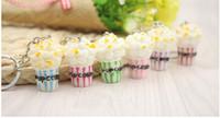 jóias universais venda por atacado-Simulação Artificial Food Keychain Pipoca Bowlful Chave Pingente Chaveiro Novidade Colorido Chaveiro Para As Mulheres Gilrs Jóias Novo