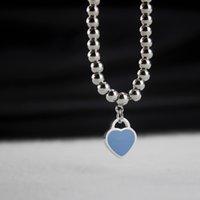perlen silber armband armband großhandel-Hohe Qualität 925 Silber Perlenarmband für Frauen Blau Herz Emaille bogen Armbänder Designer Schmuck Luxus Valentinstag Geschenk