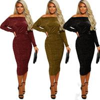 mini-spandex club kleider großhandel-Damenbekleidung Wunderschöne figurbetontes Kleid Mode sexy Tasche Hüfte Schulter Kleid Party Kleider Skinny Sexy Club Suits