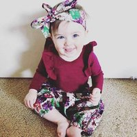 Wholesale cute baby girl clothes summer wear for sale - Princess infant girl clothes set long sleeve romper print pants headband of floral clothes autumn wear baby clothing M