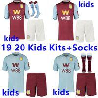 Wholesale thailand soccer kits resale online - 19 Aston Villa thailand soccer jerseys kids kit Socks Wesley GREALISH EL GHAZI HUTTON McGinn Kodja football shirts