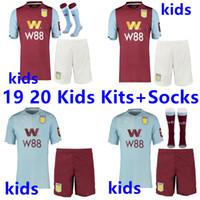 villa soccer al por mayor-19 20 Jerseys de fútbol Aston Villa Tailandia kit para niños + calcetines 2019 2020 Wesley GREALISH EL GHAZI HUTTON Camisetas de fútbol McGinn Kodja