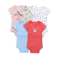 mavi gömlek kostümleri toptan satış-Kısa kollu bodysuit için bebek kız giysileri 2019 yaz yenidoğan çocuk set yeni doğan kostüm baskı vücut suit giyim 5 adet / grup