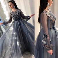 Wholesale romantic champagne prom dress for sale - Group buy Sheer Romantic Long Sleeves Formal Evening Dresses Keyhole Neck A Line Embroidery Lace Custom Made Prom Dress BC0428