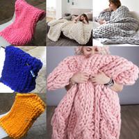 ingrosso coperte di lana spessa-Coperta di lana Calda coperta di lana pesante Coperta di lana intrecciata di lana merino Bulk coperta di lana lavorata a mano 14 colori WX9-18