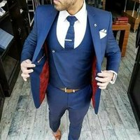 ingrosso abiti blu navy vestiti-Abiti da sposo blu navy Abiti Fashion Design 3 pezzi (giacca + gilet + pantaloni) Abiti da uomo scialle con risvolto sciallato su misura di alta qualità