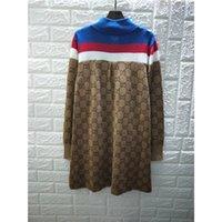 langhaarkleider großhandel-2019SS Neue Designer Technische Jersey Kleid Marke Wolle Seide Multicolor Viskose Frauen Strickhemd Mantel Outwear Sport Wear Long Street Style