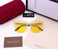 солнцезащитные очки яркий цвет оптовых-Дизайнерские солнцезащитные очки класса люкс Солнцезащитные очки Марка Fashion Style Sunglass Мужские женские UV400 с коробкой и логотипом бренда 5 Яркий цвет 8347