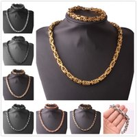Wholesale black ivory necklace for sale - Group buy 4 MM Huge Heavy L Stainless Steel Silver Gold Black Byzantine Box Chain Men s Women s Necklace quot amp Bracelet Baangle