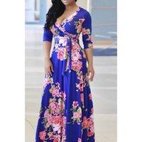 vintage dressing für schwangere frauen großhandel-Casual Blumendruck Maxi Umstandskleider Für Schwangere Kleidung Langarm Damen Vestidos Vintage Weibliche Schwangerschaftskleid