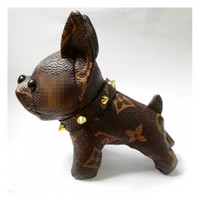 Wholesale bag keyrings resale online - New Dog Pendant Key Chain PU Leather Cute Doll Bag Accessories Car Key Keyring