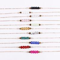 colliers de perles à facettes achat en gros de-Bijoux de mode à facettes en verre perlé Bar Pendentif Collier Ras du cou Éblouissant Perles de Verre Bar Pendentif Collier pour Femmes Soucieux Sautoirs