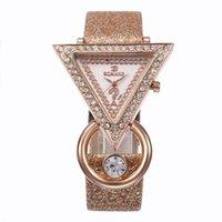 треугольные часы оптовых-Top  High Quality Fashion Womens Ladies Simple Watches Leather Triangle Diamond Analog Quartz Wrist Watch clock saat Gift