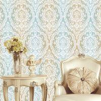 kostenlose live wallpaper großhandel-Europäische Damaskus-Spitze große Mustertapete warmes Schlafzimmer Wohnzimmer formaldehydfreie super dicke Vliestapete Luxus