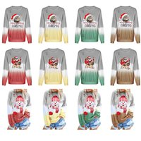 Wholesale american christmas snowmen for sale - Group buy 12 Styles Christmas Girls Gradient Rainbow Sweatshirt Santa claus Snowman Cat Printed Pullover Tops T shirt Outdoor Sweater Clothing M851