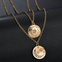 Wholesale coin jewelry online - CZ RHINESTONE SHINY COIN MOON STAR WOMEN MULTI TIERS NECKLACE VINTAGE FREE MATCH UNIQUE FEATURED PENDANT COLLAR JEWELRY FEMALE NECKLACES