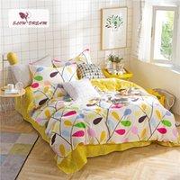 kral yataklar sarı ayarlar toptan satış-SlowDream Sarı Yatak Seti Kız Hediye Nevresim Set Düz Levha Yastık Kılıfı Yatak Örtüsü Düz Levha Iç Çamaşırı Çarşafları Yatak Örtüleri