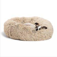 statue de maison achat en gros de-Longue peluche Super Soft Pet Round Lit Chenil Chat confortable Sleeping Cusion Maison d'hiver pour chat chaud Lits pour les chiens Produits pour animaux de compagnie