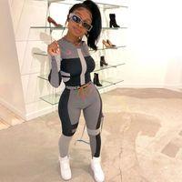 korsan pantolon kadın toptan satış-2 Adet Set Kadınlar Yoga Giyim Eşofman Spor Üst ve Yüksek Bel Tozluklar Egzersiz Suit Set Uzun Kollu Spor eşofman Suits