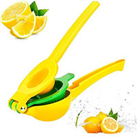 portakal suyu el ile sıkacağı toptan satış-Sarı Limon Sıkacağı El Basın Kılavuzu Sıkacağı Portakal Kireç Sıkacağı Alüminyum Alaşım Taze Suyu Araçları toptan