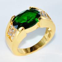 ingrosso formato di anelli di cerimonia nuziale di fidanzamento-Fashion Designer Size 8-11 Uomo Uomo Anello Big Stone Zirconia Cz oro oro riempito Mens gioielli anello di fidanzamento di fidanzamento per regalo