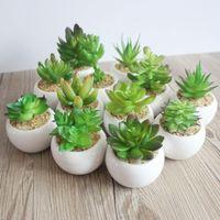 mini vases verts achat en gros de-Mini plantes en pot artificielles vertes succulentes Bonsaï ensemble faux fleur vase décoratif fleur maison balcon décoration