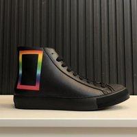 deri dövmeli toptan satış-gökkuşağı dikdörtgen baskılı Moda Lüks Womens Tasarımcı Ayakkabı ile Yeni Geliş Dövme Sneaker Boot Mens Yüksek Top Tayga deri Sneaker