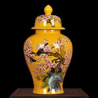 мода ремесел китай оптовых-Китай jingdezhen фарфора банку моды керамическая ваза ремесла желтый цветок и птица керамический храм банку