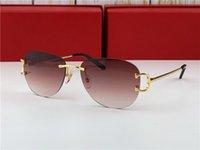 vintage c оптовых-новые винтажные очки гр мужчин бренд дизайн framless овальные круглые очки форма UV400 линзы позолоченный зеленый объектив