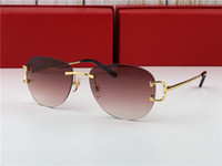 Wholesale new brands sunglasses for sale - Group buy new vintage sunglasses c men brand design framless oval round shape sunglasses UV400 lens gold plated green lens