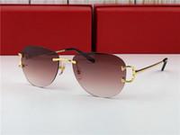 ingrosso annata c-placcato nuovo oro occhiali da sole vintage c uomini marchio di design framless forma ovale occhiali da sole rotondi lente UV400 lente verde