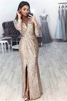 Wholesale tencel fiber for sale - Group buy Mermaid V Neck Long Sleeve Split Prom Dresses Cheap Sequin Evening Wear Gowns Cocktail Party Ball Sweet Dress Formal Gown
