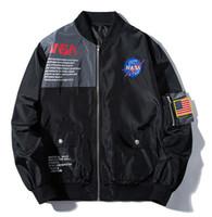 casaco de beisebol homens venda por atacado-NOVA NASA jaqueta Bomber Ma1 Bombardeiros Jaqueta Homens KANYE WEST para o Piloto de Vôo Jaqueta de Beisebol Dos Homens Casacos Militares yeezus jaquetas