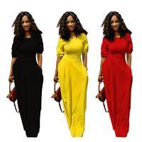 430586909e36f Femmes Maxi Dress Summer jupes longues avec poche casual robe de soirée  sexy 1/2 manches longueur au sol jupes streetwear lady vêtements noir jaune