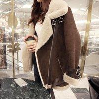 kaliteli süet katlar toptan satış-Kış Yüksek kaliteli Ceket Kadın Süet Kuzu Sıcak Tutmak Yün Ceket Motosiklet Yaka Ceket Kadın Kalın Ceket Kadın
