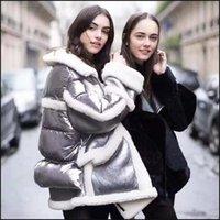 casacos de inverno feminino europa venda por atacado-Europa e América mulheres moda inverno lã de carneiro outerwear pato branco para baixo casaco parkas solta casaco quente feminina plus size